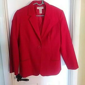 Red wool blazer/jacket. Single button. Two pockets